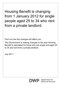 Housing Benefit is changing from 1 January 2012 for single