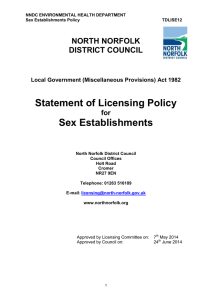 Statement of Licensing Policy Sex Establishments  NORTH NORFOLK