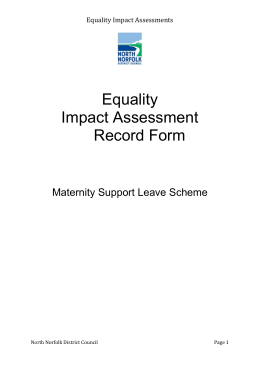 Equality Impact Assessment Record Form