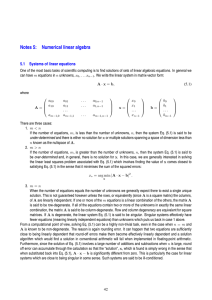 Notes 5: Numerical linear algebra 5.1 Systems of linear equations