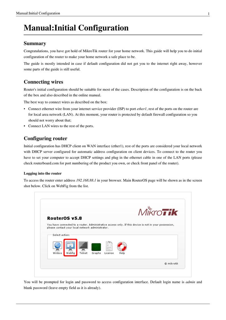 Manual:Initial Configuration Summary