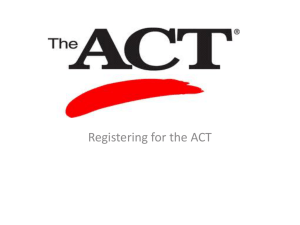 Registering for the ACT