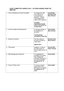 AUDIT COMMITTEE 6 MARCH 2012 – ACTIONS ARISING FROM THE MINUTES