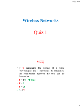 Quiz 1 Wireless Networks MCQ