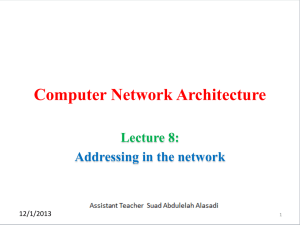 Computer Network Architecture  Lecture 8: Addressing in the network