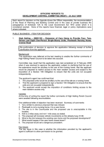 OFFICERS' REPORTS TO DEVELOPMENT CONTROL COMMITTEE (WEST) – 23 JULY 2009