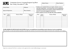 Community Service-Learning Program Log Sheet Due: Friday, December 9 , 2011