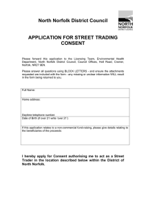 North Norfolk District Council APPLICATION FOR STREET TRADING CONSENT