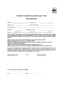 HOUSE TO HOUSE COLLECTION ACT 1939 DECLARATION