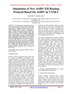 Simulation of New AODV-FH Routing Protocol Based On AODV in VANET