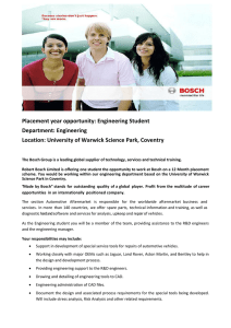 Placement year opportunity: Engineering Student Department: Engineering