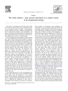The chick embryo – past, present and future as a... in developmental biology Preface