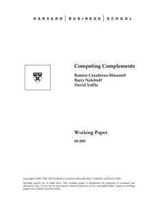 Competing Complements Working Paper  09-009