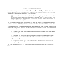 University Governance Senate Resolution