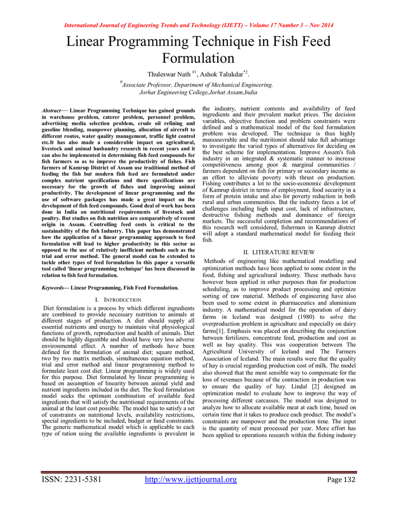 Linear Programming Technique in Fish Feed Formulation