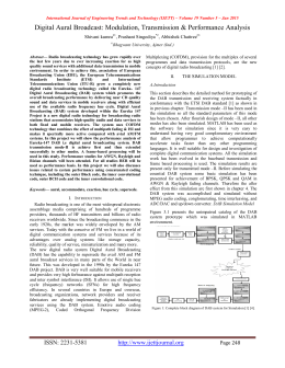 Digital Aural Broadcast: Modulation, Transmission & Performance Analysis  Shivani kumra
