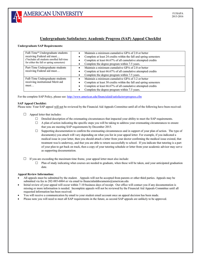 undergraduate satisfactory academic progress sap appeal checklist
