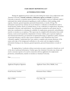FAIR CREDIT REPORTING ACT AUTHORIZATION FORM