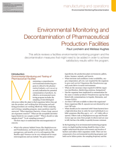 Environmental Monitoring and Decontamination of Pharmaceutical Production Facilities manufacturing and operations