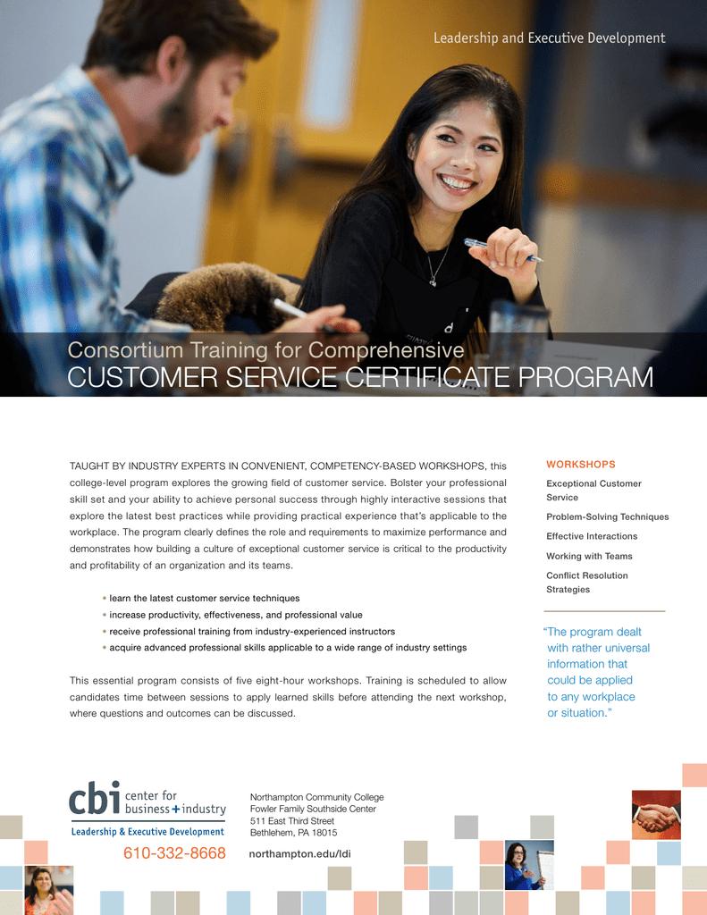 Customer Service Certificate Program Consortium Training For