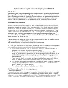 Sophomore Honors English: Summer Reading Assignment 2012-2013 Introduction