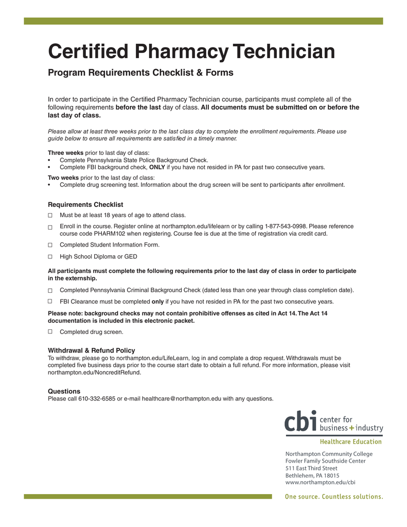 Certified Pharmacy Technician Program Requirements Checklist & Forms