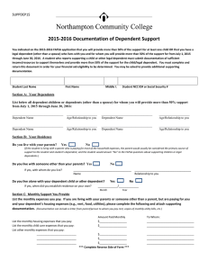 2015-2016 Documentation of Dependent Support SUPPDEP15