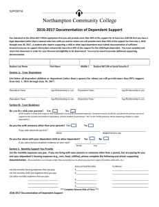 2016-2017 Documentation of Dependent Support SUPPDEP16