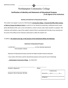 Verification of Identity and Statement of Educational Purpose