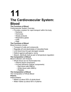 11 The Cardiovascular System: Blood •