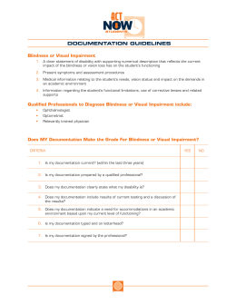 DOCUMENTATION GUIDELINES Blindness or Visual Impairment