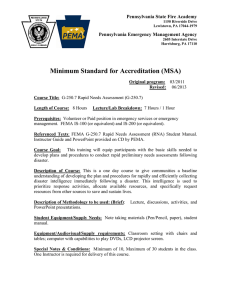 Minimum Standard for Accreditation (MSA) Pennsylvania State Fire Academy