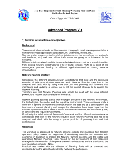 Advanced Program V.1 1) Seminar introduction and objectives