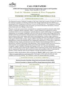 CALL FOR PAPERS Track 16: Vibration, Acoustics & Wave Propagation