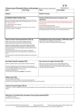 Primary Lesson Planning Proforma: with prompts LEARNING OBJECTIVE(S)( TS4): Success Criteria