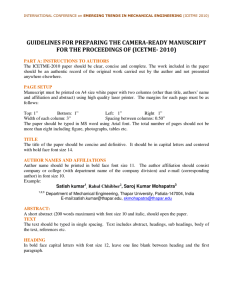 GUIDELINES FOR PREPARING THE CAMERA-READY MANUSCRIPT