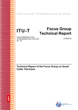 ITU-T Focus Group Technical Report Technical Report of the Focus Group on Smart
