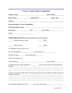Crescent Academy Referral Application