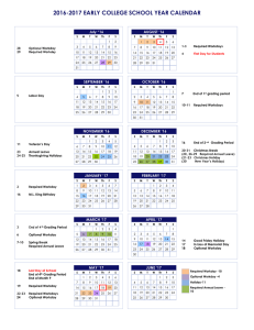 "2016-2017 EARLY COLLEGE SCHOOL YEAR CALENDAR  July ""16 AUGUST '16"