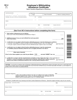 Employee's Withholding Allowance Certificate NC-4 EZ