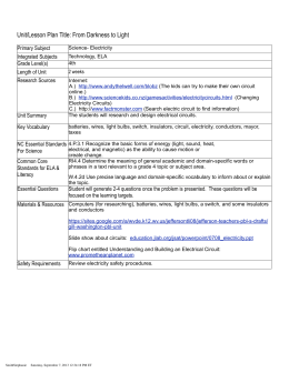 Unit/Lesson Plan Title: From Darkness to Light Primary Subject Integrated Subjects Grade Level(s)