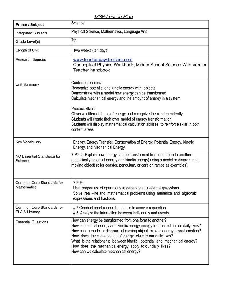 MSP Lesson Plan