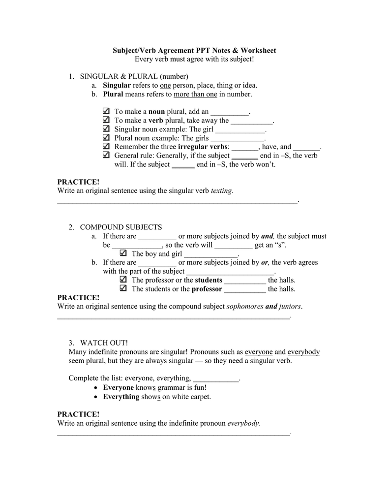 Subjectverb Agreement Ppt Notes Worksheet