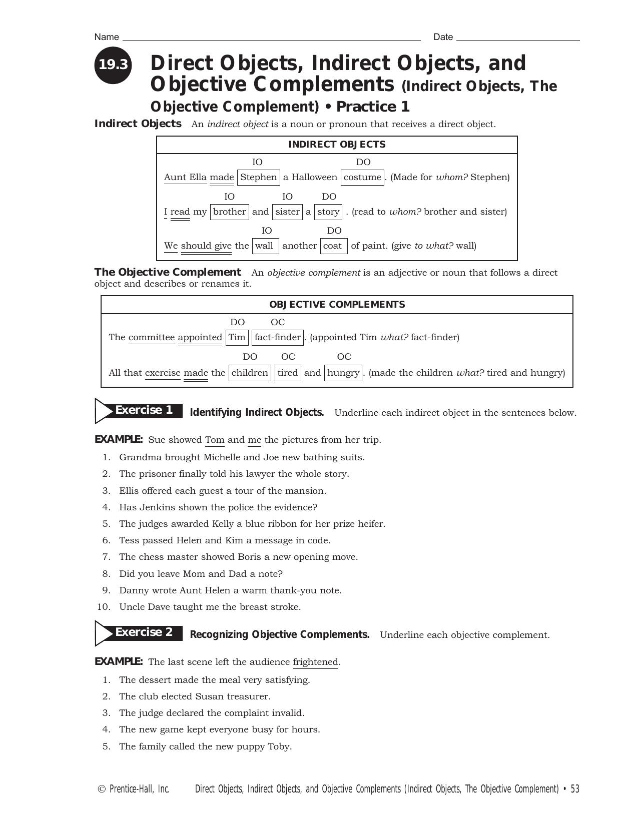 Worksheets Direct And Indirect Object Worksheets direct objects indirect and objective complements the