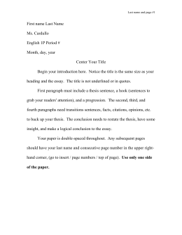 Process Paper  Word Essay First Name Last Name Ms Cardullo English P Period  Month Day Year