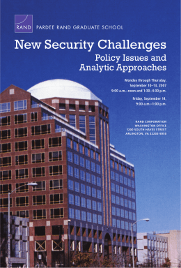 New Security Challenges Policy Issues and Analytic Approaches