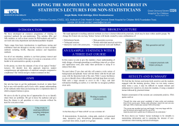KEEPING THE MOMENTUM STATISTICS LECTURES FOR NON-STATISTICIANS
