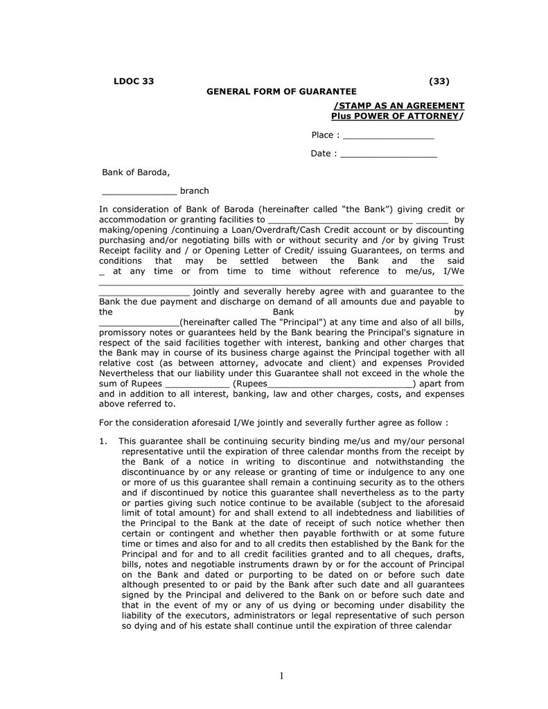 Ldoc 33 33 General Form Of Guarantee