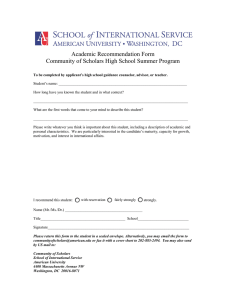 Academic Recommendation Form Community of Scholars High School Summer Program