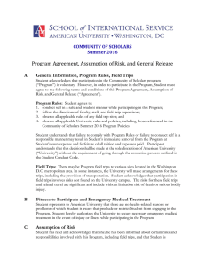 Program Agreement, Assumption of Risk, and General Release  COMMUNITY OF SCHOLARS